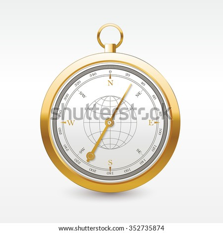 Vintage wind rose golden compass. Isolated vector design of wind rose compass navigation