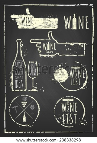 Vintage wine set on chalkboard background. Set of wine, wine list, wine card, wine glass, bottle of wine, wine here, wine stain, symbols wine, wine object.  - stock vector