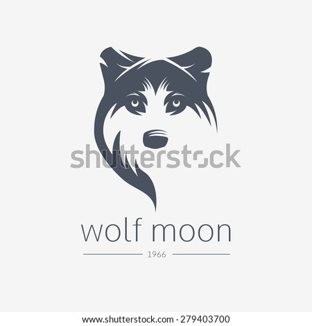 Vintage wolf face logo emblem template template for business or t-shirt design. Vector Vintage Design Element. - stock vector