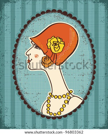 Vintage woman face in fashion hat.Retro image on old paper texture