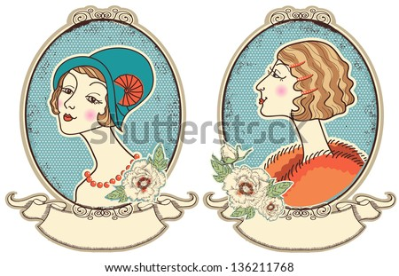 Vintage woman portraits in frame.Vector people illustration