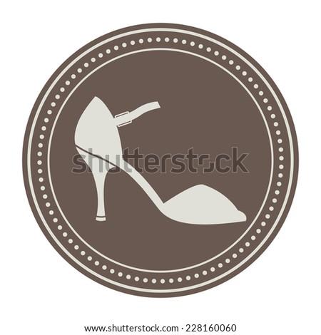 Vintage women shoe label. Argentine tango dance shoes. Design template for label, banner, badge, logo. Vector. - stock vector