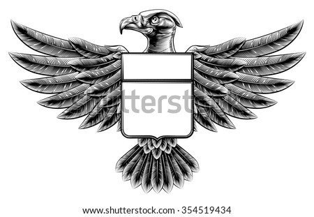 Vintage woodcut or woodblock style wing shield eagle insignia motif - stock vector