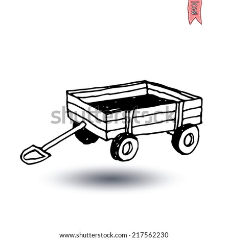 vintage wooden cart isolated, vector illustration. - stock vector