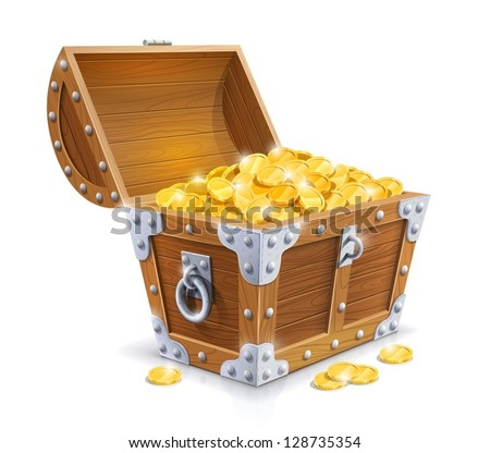 vintage wooden chest with golden coin vector illustration isolated on white background EPS10. Transparent objects and opacity masks used for shadows and lights drawing. Vector Illustration. - stock vector