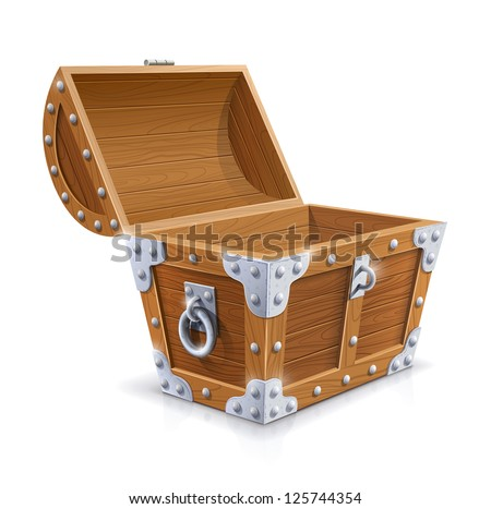 vintage wooden chest with open lid vector illustration isolated on white background EPS10. Transparent objects and opacity masks used for shadows and lights drawing - stock vector