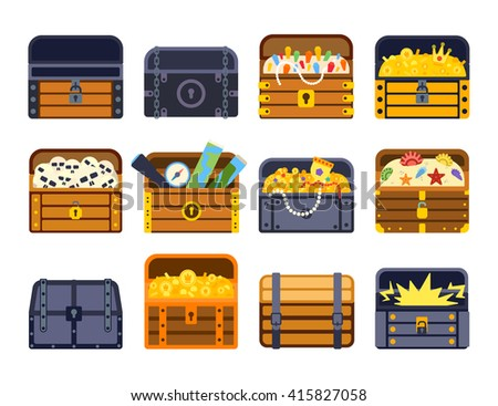 Vintage wooden treasure chest with golden coin vector illustration. Treasure chest isolated on white. Treasure chest box gold old isolated box and wealth antique, open money treasure chest. - stock vector