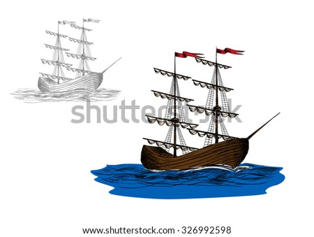 Vintage wooden two-masted sailing ship with furled sails on a blue sea, sketch style