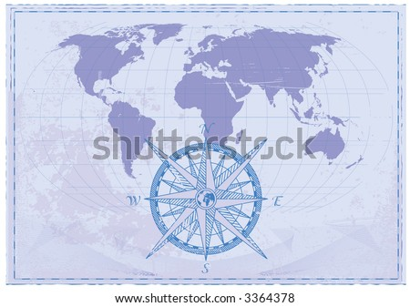 Vintage word map grunge background with retro compass. Vector illustration. - stock vector