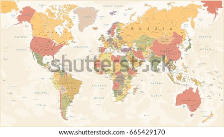 Old Retro World Map Lakes Rivers Stock Vector 497029309 Shutterstock