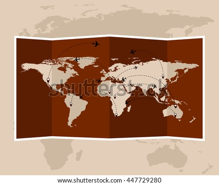 Vintage world map. Folded travel maps. Vector illustration. - stock vector