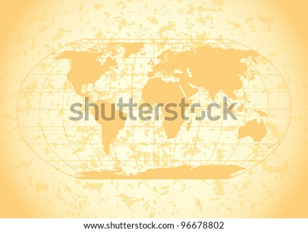 Vintage world map with grunge paper background. Editable vector illustration. - stock vector