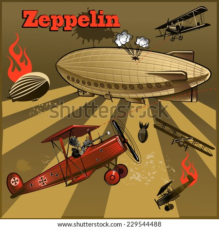 Vintage world war biplanes and Zeppelin. World War I  - stock vector
