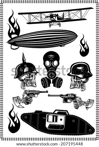 Vintage world war biplanes and Zeppelin. World War I panzer Skull in helmet with gun cartridges and pistols - stock vector