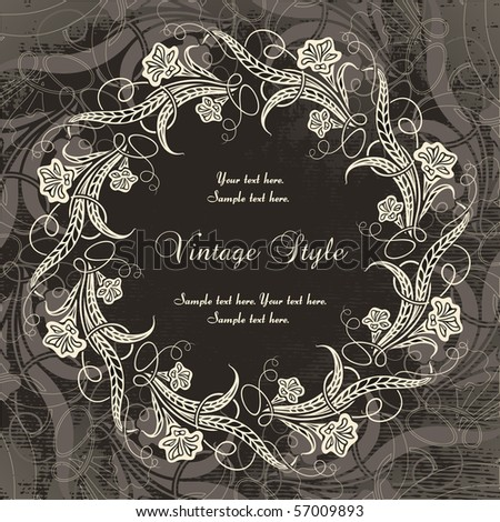 vintage wreath - stock vector