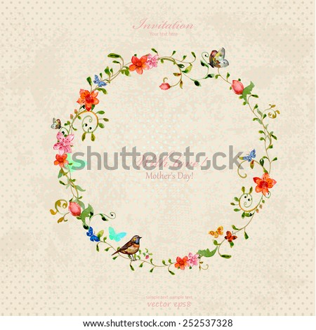 vintage wreath with foliate ornament and flowers. watercolor painting - stock vector