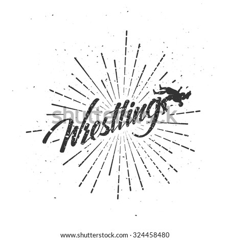 Vintage Wrestling label  with hand drawn elements. Template for your gym, t-shirt, banner or some art works - stock vector