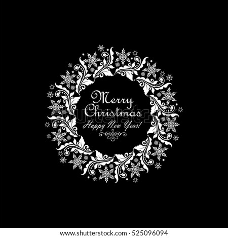 Vintage xmas paper white wreath with floral pattern and star isolated on black background