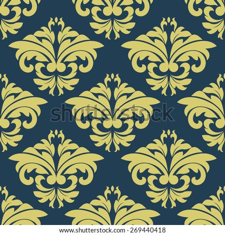 Vintage yellow foliate seamless pattern with bold damask stylized leaves compositions on blue background for textile or wallpaper design - stock vector