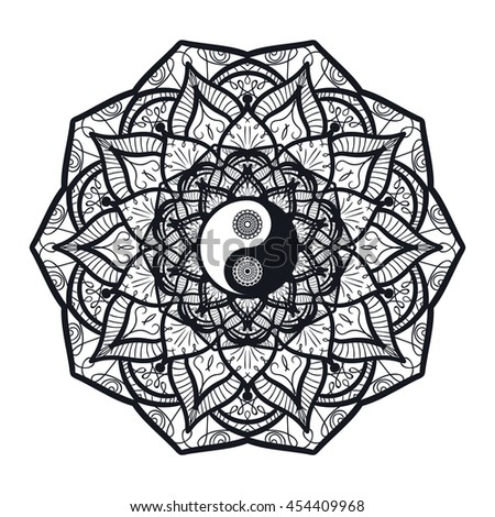 Vintage Yin and Yang in Mandala. Tao symbol for print, tattoo, coloring book,fabric, t-shirt, yoga, henna, cloth in boho style. Mehndi, occult and tribal, esoteric and alchemy sign. Vector - stock vector