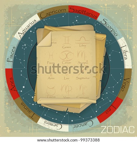 Vintage zodiac circle with zodiac sign - vector illustration - stock vector