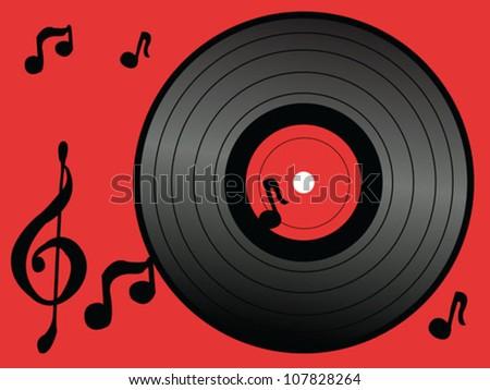 vinyl and music notes design - stock vector