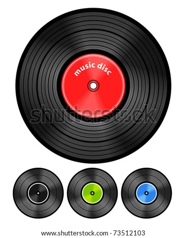 Vinyl audio discs set - stock vector