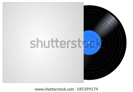 Vinyl blue musical record with blank cover, vector art image illustration, isolated on white background  - stock vector