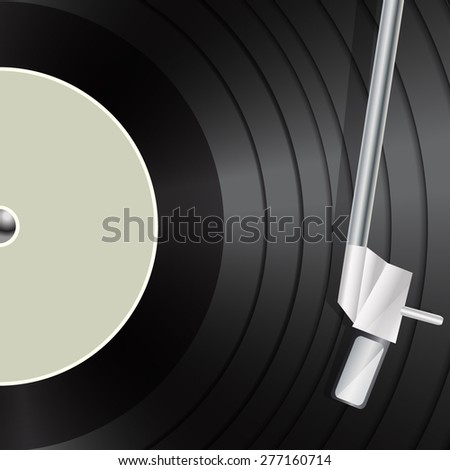vinyl macro as retro music background - stock vector