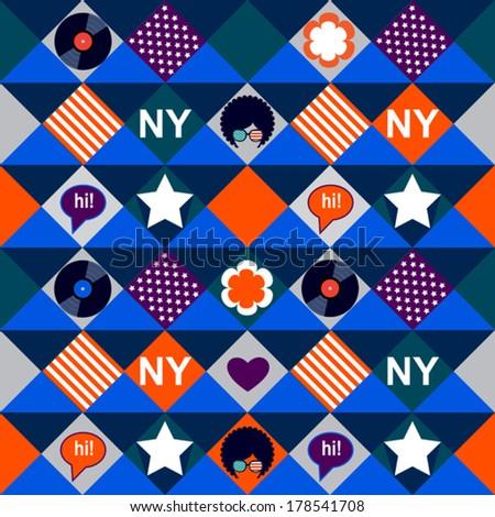 vinyl New York pattern - stock vector