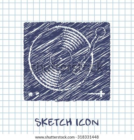 vinyl player vector sketch icon  - stock vector