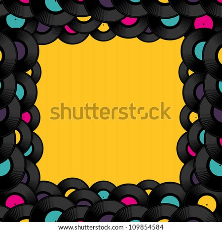 Vinyl record background with space for text. Vector illustration.