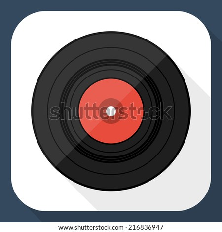 Vinyl record flat icon with long shadow