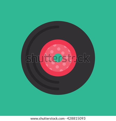 Vinyl Record Icon Vector Green Background, Music Vector