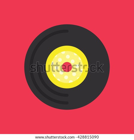 Vinyl Record Icon Vector Red Background, Music Vector