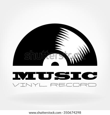 vinyl record logo - stock vector
