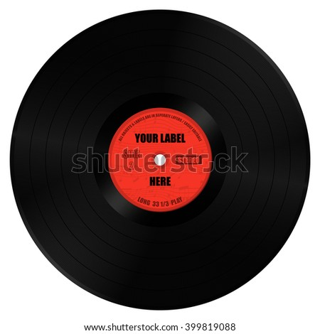 Vinyl Record Long Play with Label. All objects are in separate layers. Label can easily be changed.