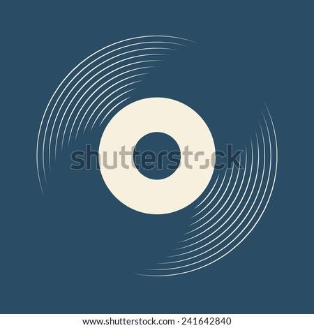 Vinyl record, lp record symbol - stock vector