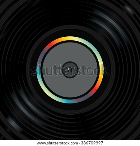 Vinyl record playing vector illustration.