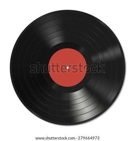 Vinyl record template with red label.