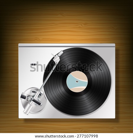 vinyl record turntable on wooden background - stock vector