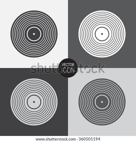 Vinyl record vector icon. - stock vector