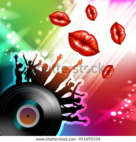 Vinyl record with dancing silhouettes - stock vector