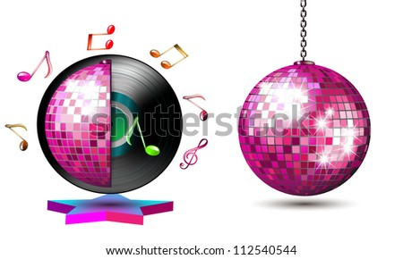Vinyl record with disco ball and music notes - stock vector