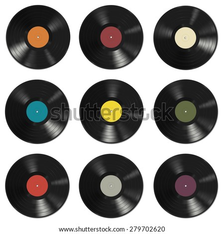 Vinyl records with colorful labels on white background. Seamless pattern. - stock vector