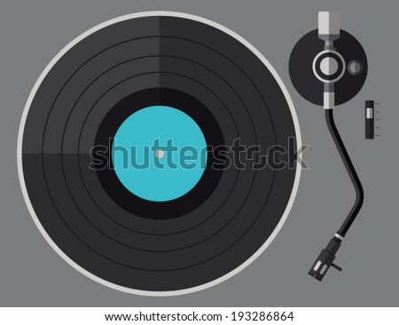 Vinyl turntable, flat design