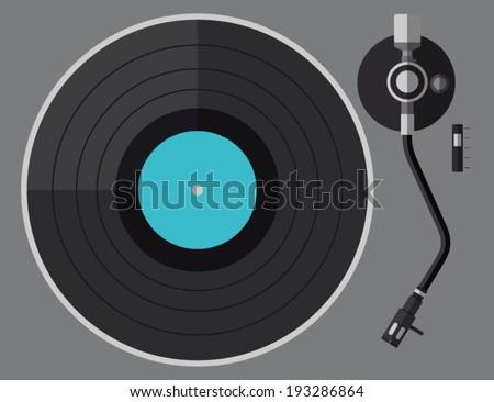 Vinyl turntable, flat design - stock vector