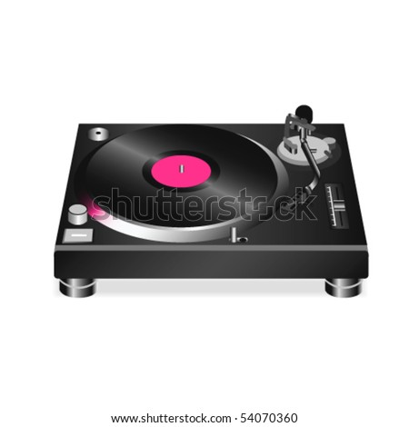 Vinyl turntable isolated on white background.Vector