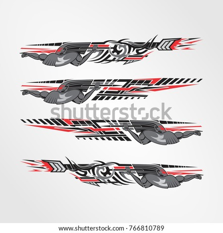 Vinyls decals for car modif motorcycle racing vehicle graphics in isolated vector design