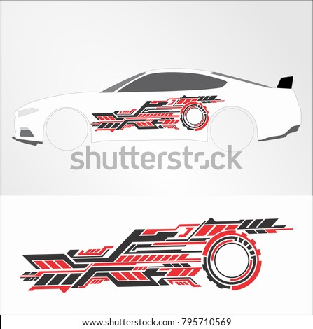 Vinyls decals for car modif sticker motorcycle racing vehicle graphics in isolated vector